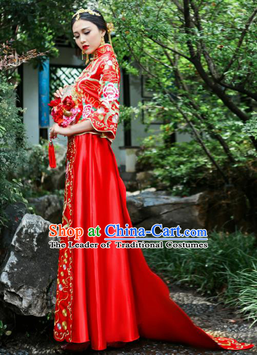 Chinese Traditional Wedding Bottom Drawer Ancient Bride Costume Embroidered Xiuhe Suit Cheongsam for Women