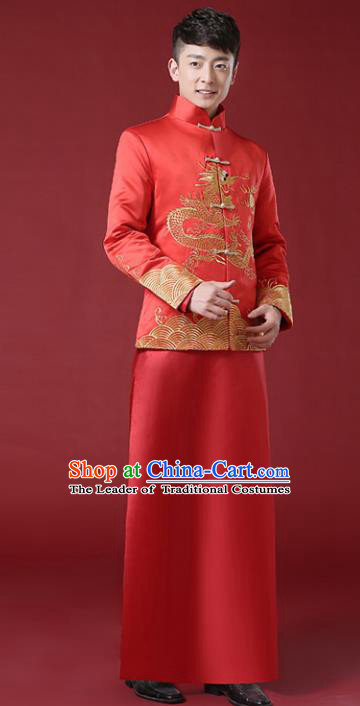 Chinese Traditional Wedding Embroidered Costume Ancient Bridegroom Tang Suit Clothing for Men