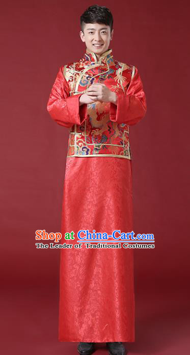 Chinese Traditional Wedding Embroidered Costume Ancient Bridegroom Mandarin Jacket Tang Suit Clothing for Men