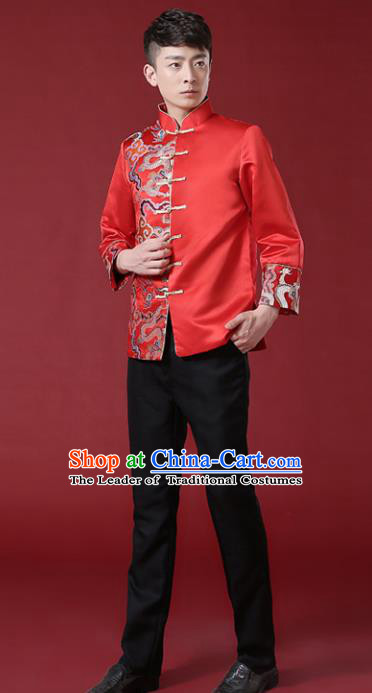 Chinese Traditional Wedding Embroidered Costume Ancient Bridegroom Red Mandarin Jacket Tang Suit Clothing for Men