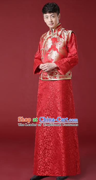 Chinese Traditional Wedding Embroidered Costume Ancient Bridegroom Toast Tang Suit Clothing for Men