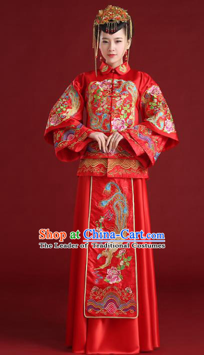 Chinese Traditional Wedding Embroidered Bottom Drawer Ancient Bride Xiuhe Suit Red Cheongsam for Women