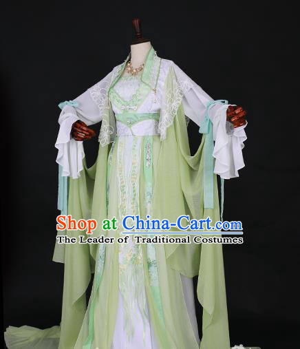 Traditional Chinese Princess Embroidered Costume Ancient Tang Dynasty Imperial Concubine Green Hanfu Dress for Women