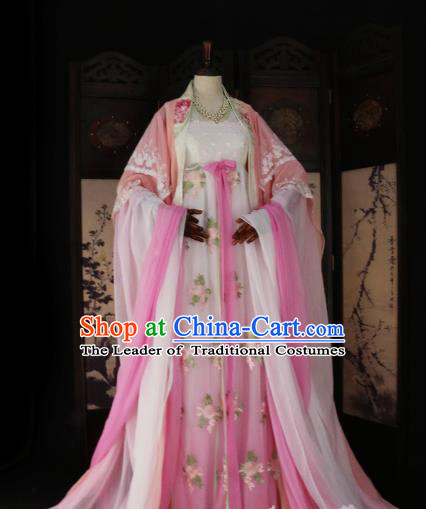 Chinese Ancient Imperial Concubine Pink Hanfu Dress Tang Dynasty Imperial Consort Embroidered Costume for Women