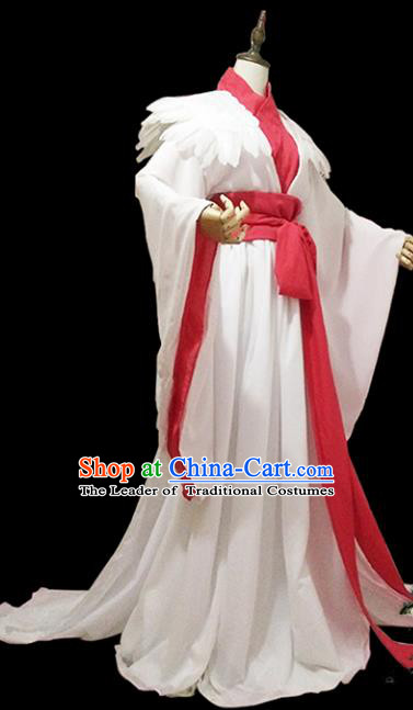 Chinese Ancient Cosplay Swordswoman White Hanfu Dress Han Dynasty Female Knight-errant Costume for Women