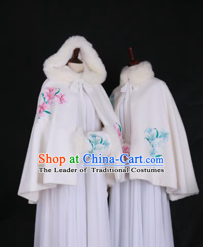 Chinese Ancient Princess Embroidered Orchid Costume Han Dynasty Palace Lady Hanfu Cloak for Women