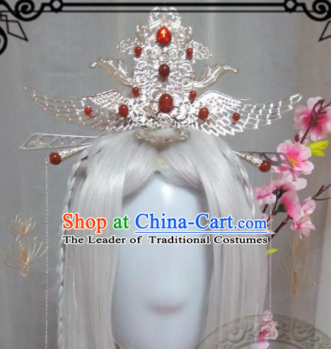 Chinese Traditional Handmade Swordsman Wig and Hair Accessories Ancient Knight Hairpins Headwear for Men
