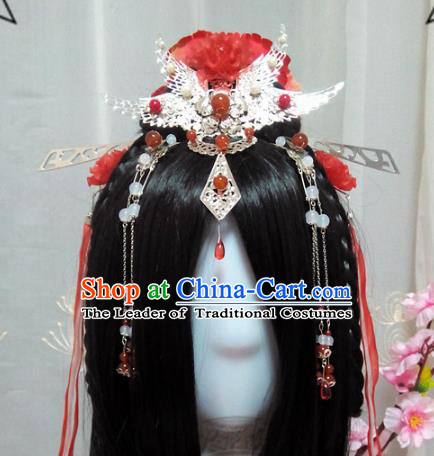 Chinese Traditional Handmade Swordswoman Wig and Hair Accessories Ancient Knight Phoenix Coronet Hairpins Headwear for Women