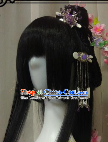 Chinese Traditional Handmade Princess Wig and Hair Accessories Ancient Hairpins Complete Set for Women