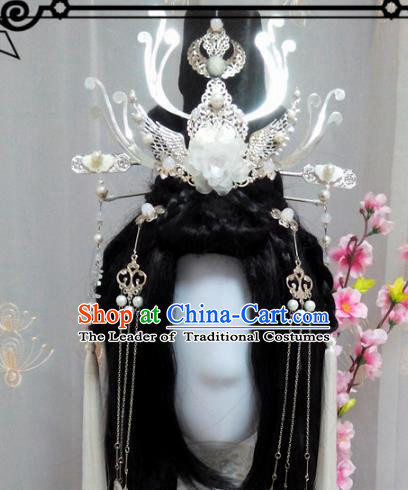 Chinese Traditional Handmade Swordsman Wig and Hair Accessories Ancient Knight Hairpins Headwear for Women
