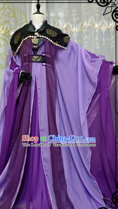 Chinese Ancient Nobility Childe Knight Purple Costume Cosplay Swordsman Royal Highness Clothing for Men