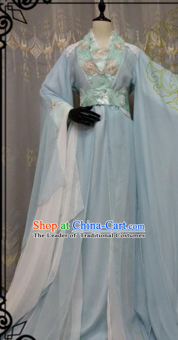 Chinese Ancient Fairy Costume Cosplay Swordswoman Clothing Knight Princess Blue Hanfu Dress for Women