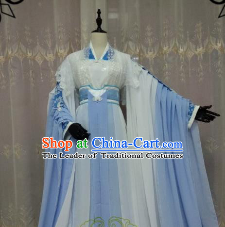 Chinese Ancient Princess Costume Cosplay Swordswoman Clothing Female Knight Blue Hanfu Dress for Women