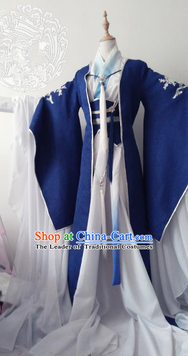 Chinese Ancient Nobility Childe Royal Highness Costume Cosplay Prince Swordsman Clothing for Men