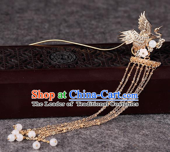 Chinese Traditional Handmade Hair Accessories Ancient Tassel Hairpins Hanfu Golden Phoenix Hair Clip for Women
