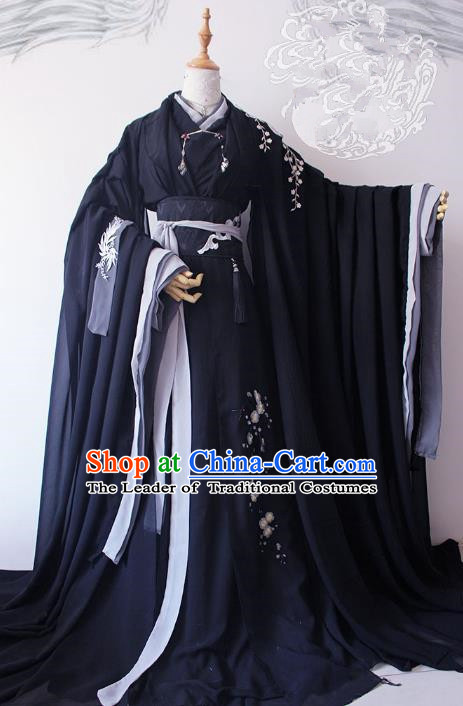 Chinese Ancient Crown Prince Black Costume Cosplay Nobility Childe Swordsman Embroidered Clothing for Men