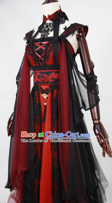 Chinese Ancient Cosplay Fairy Costume Han Dynasty Swordswoman Embroidered Hanfu Dress for Women