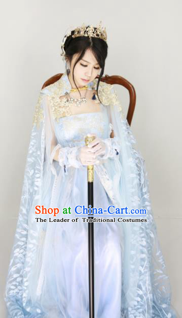 Chinese Ancient Cosplay Fairy Blue Costume Han Dynasty Princess Embroidered Hanfu Dress for Women