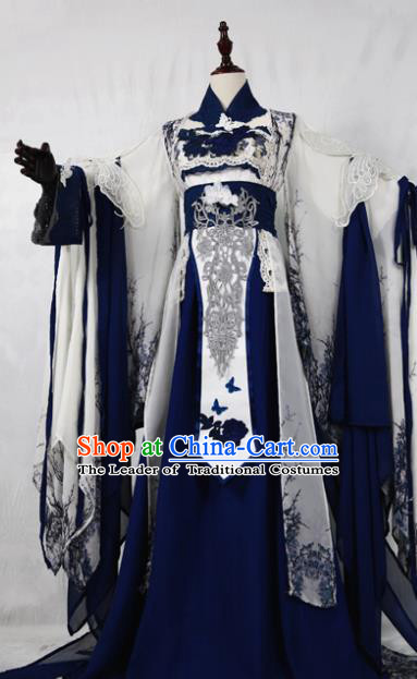 Chinese Ancient Cosplay Swordswoman Costume Han Dynasty Queen Embroidered Blue Hanfu Dress for Women