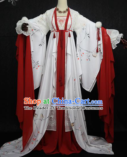 Chinese Ancient Cosplay Princess Costume Tang Dynasty Court Lady Embroidered Hanfu Dress for Women