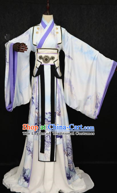 Chinese Ancient Royal Highness Costume Cosplay Nobility Childe Swordsman Embroidered Clothing for Men