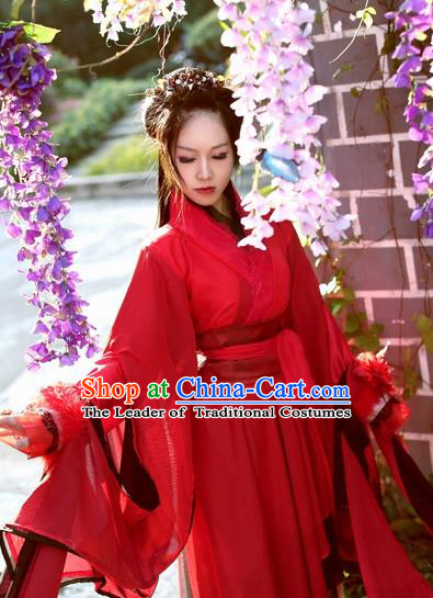 Chinese Ancient Cosplay Costume Song Dynasty Swordswoman Red Hanfu Dress for Women