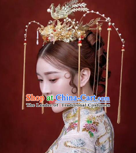 Chinese Traditional Hair Accessories Bride Xiuhe Suit Phoenix Coronet Ancient Tassel Hairpins for Women