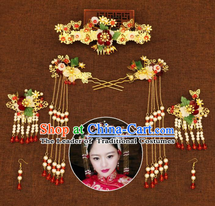 Chinese Traditional Handmade Hair Accessories Xiuhe Suit Hair Comb Ancient Hairpins Tassel Step Shake for Women