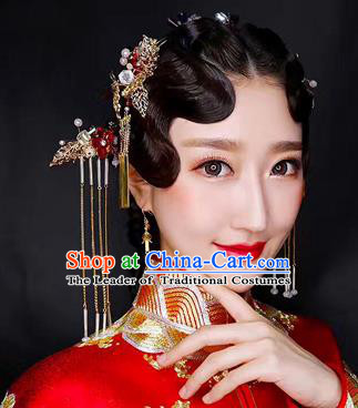 Chinese Traditional Xiuhe Suit Hair Accessories Ancient Hairpins Hair Clips Complete Set for Women