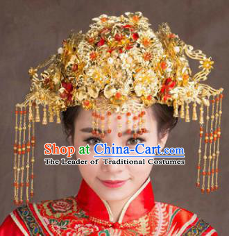 Chinese Traditional Handmade Hair Accessories Ancient Hairpins Xiuhe Suit Phoenix Coronet Complete Set for Women