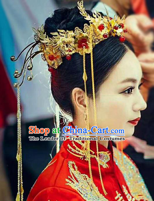 Chinese Traditional Wedding Xiuhe Suit Phoenix Coronet Hair Accessories Ancient Hairpins Complete Set for Women