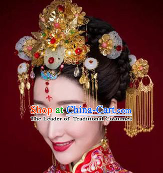 Chinese Traditional Wedding Xiuhe Suit Jade Hair Clips Hair Accessories Ancient Hairpins Complete Set for Women