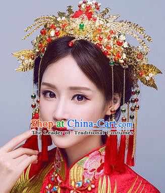 Chinese Traditional Wedding Phoenix Coronet Xiuhe Suit Hair Accessories Ancient Hairpins Complete Set for Women