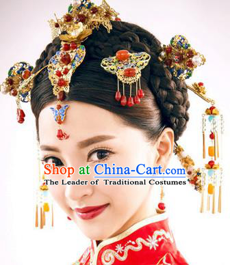 Chinese Traditional Wedding Blueing Hair Clips Xiuhe Suit Hair Accessories Ancient Hairpins Complete Set for Women