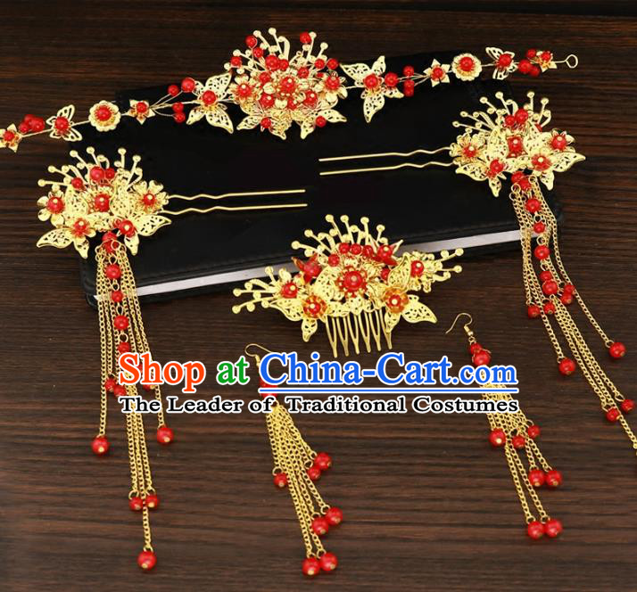Chinese Traditional Wedding Xiuhe Suit Red Beads Hair Accessories Ancient Hairpins Complete Set for Women
