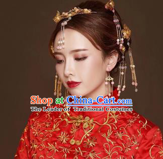 Chinese Traditional Handmade Hair Accessories Bride Frontlet Xiuhe Suit Hair Clips Ancient Hairpins Complete Set for Women