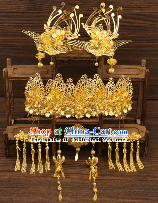 Chinese Traditional Xiuhe Suit Hair Accessories Step Shake Ancient Bride Phoenix Hairpins Complete Set for Women