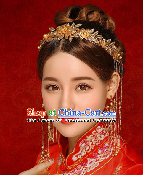 Chinese Traditional Xiuhe Suit Hair Accessories Ancient Golden Phoenix Coronet Hairpins Complete Set for Women