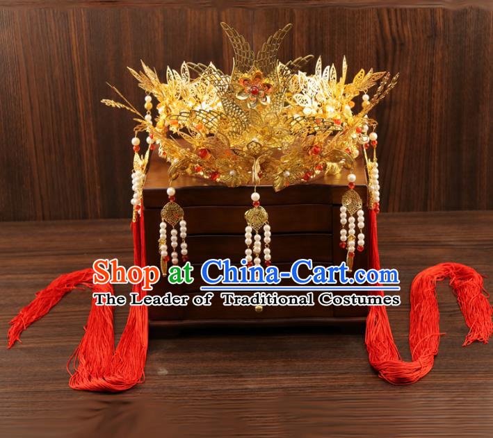 Chinese Traditional Xiuhe Suit Hair Accessories Ancient Pearls Tassel Phoenix Coronet Hairpins for Women