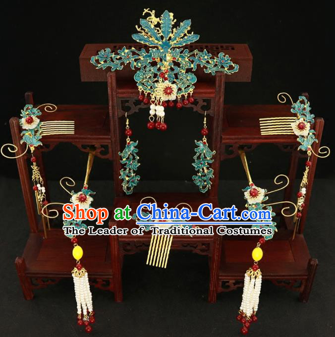 Chinese Traditional Hair Accessories Ancient Xiuhe Suit Phoenix Hairpins Complete Set for Women
