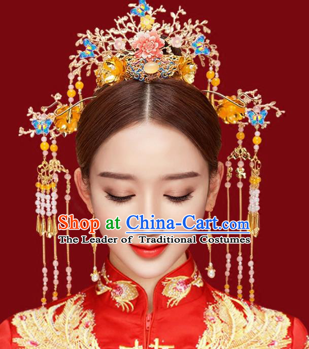 Chinese Traditional Hair Accessories Phoenix Coronet Ancient Xiuhe Suit Hairpins Complete Set for Women
