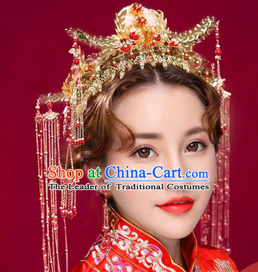Chinese Traditional Xiuhe Suit Hair Accessories Ancient Handmade Jade Phoenix Coronet Hairpins for Women