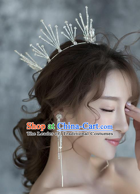 Baroque Style Hair Jewelry Accessories Bride Royal Crown Princess Crystal Imperial Crown and Earrings for Women