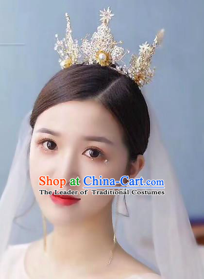 Baroque Style Hair Jewelry Accessories Bride Royal Crown Princess Pearls Imperial Crown for Women