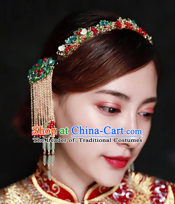 Chinese Ancient Handmade Hair Accessories Traditional Xiuhe Suit Cloisonne Hair Clasp Tassel Hairpins for Women