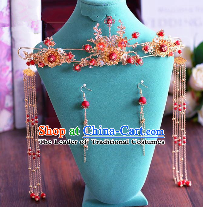 Chinese Ancient Handmade Phoenix Coronet Hair Accessories Traditional Xiuhe Suit Tassel Hairpins for Women
