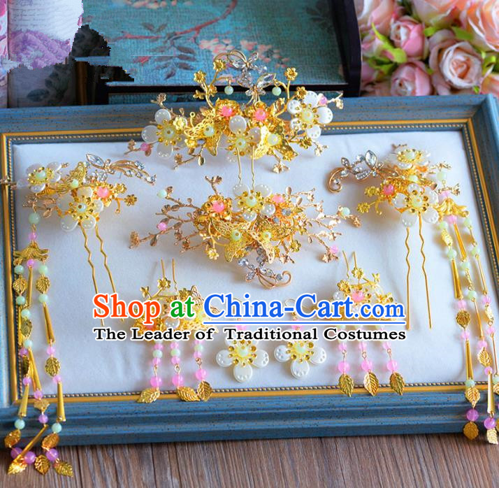 Chinese Ancient Handmade Xiuhe Suit Hair Clips Traditional Hairpins Hair Accessories Complete Set for Women