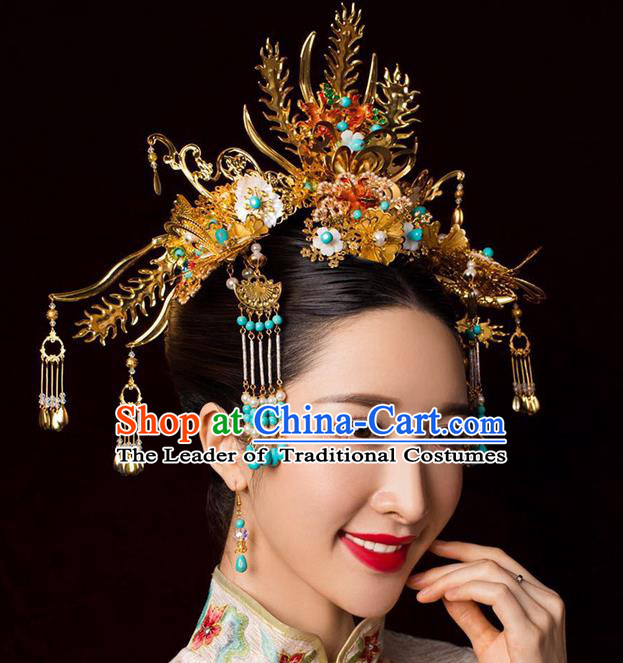 Chinese Ancient Handmade Bride Phoenix Coronet Traditional Xiuhe Suit Hairpins Hair Accessories for Women