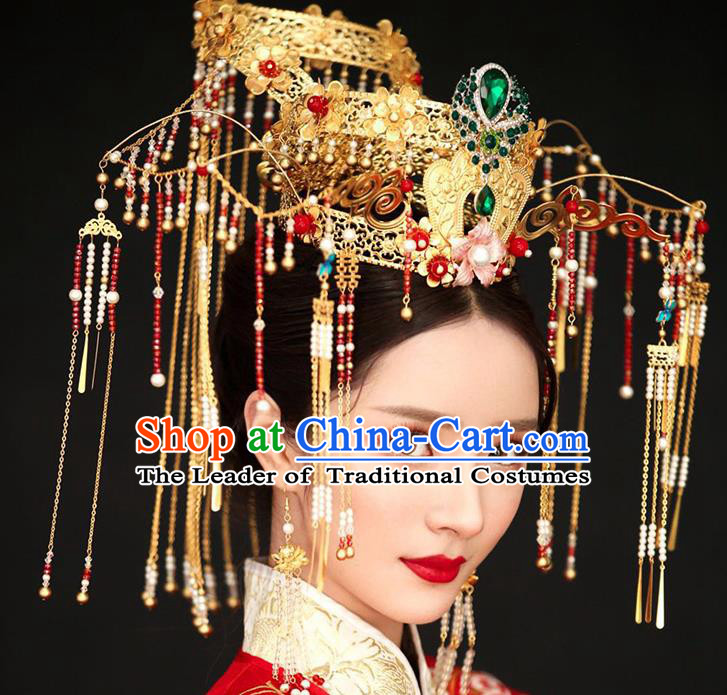 Chinese Ancient Handmade Queen Phoenix Coronet Traditional Xiuhe Suit Hairpins Hair Accessories for Women