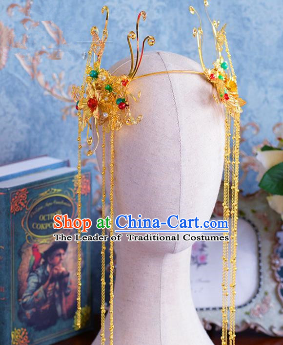 Chinese Ancient Handmade Tassel Phoenix Coronet Hair Accessories Traditional Hairpins for Women